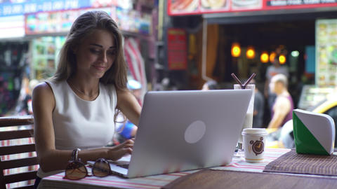 Young Woman Working With Laptop With Joyful Smile Footage