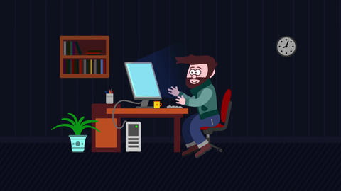 Conceptual successful idea man animation with lamp and computer in office Animation