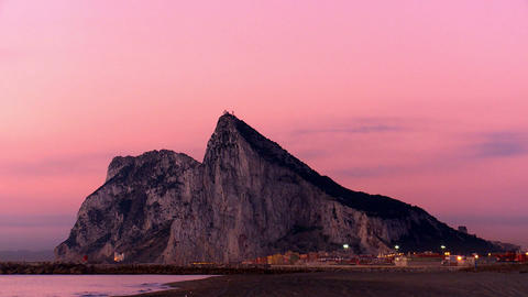 Rock of Gibraltar at dawn Stock Video Footage