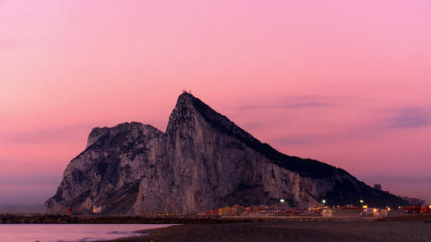 Rock of Gibraltar at dawn Footage