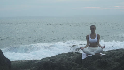 Meditation Near The Sea, Doing Yoga On A Beach Footage