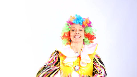 Female clown in the studio Footage