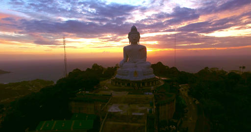 Sunset behine big Buddha Footage