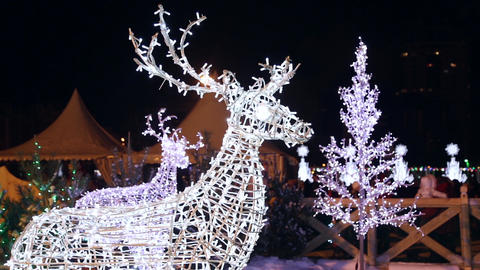 Christmas figures of deer from the garlands Stock Video Footage