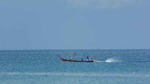 Fishing boat in ocean Footage