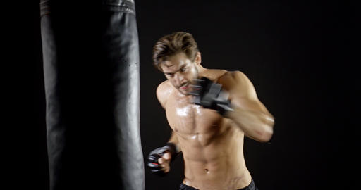 Athletic Male Workout Boxing Slow-Motion Footage