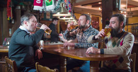 Friends group talks drinks beer at pub bar 4k video. Men taste lager cheers Footage