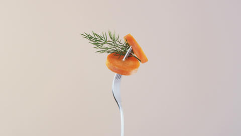 Fork With Carrot on Almond Background Stock Video Footage