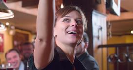 Men friends with beer, smiling waiter or bartender at pub bar 4k video Footage