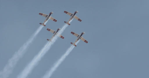 Israeli Air force Aerobatics team in formation flight during an airshow Footage