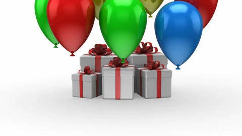 Balloons fly up and arise gift boxes Animation