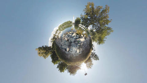 Rolling Tiny Planet 360. Gulls in a pond Monastery Footage
