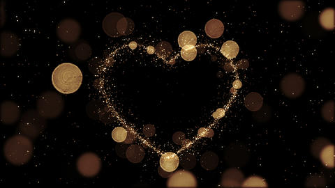Beautiful Golden Heart made of Sparks in Looped animation. Particles Flying Slow Animation