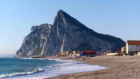 Rock of Gibraltar from la Linea beach Footage