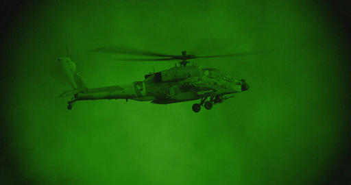 Night vision footage of army helicopter during combat mission