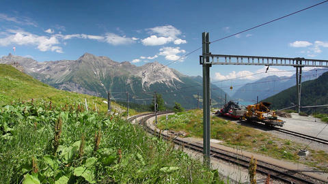 Alp Grum railway station is situated on the Bernina Railway Footage