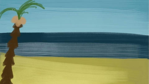 Digital drawing of the beach, Timelapse Animation