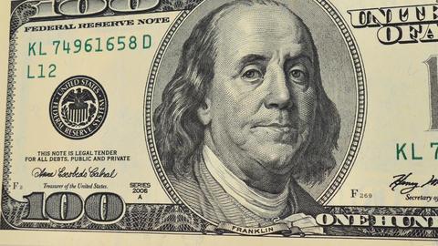 100 dollar bill money, macro Animation