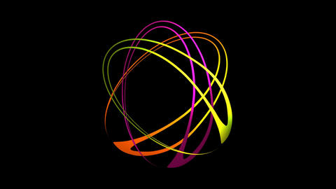 Three oval shapes in vivid colors rotating and building multicolored flower Animation