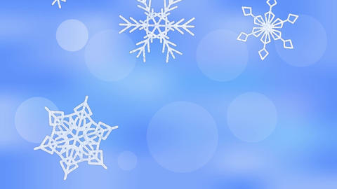 Snowflakes falling on blurry bokeh blue background Animation