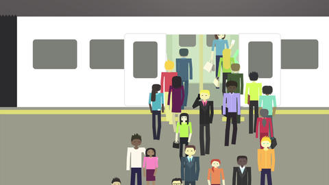 Commuters. Funny characters animation. People waiting at train station, train ar Animation