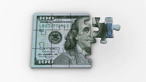 Animated Puzzles with Image of New 100 Dollars Animation