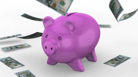 Money falling near the Piggy Bank Animation