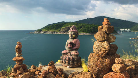 Buddha Statue Near The Ocean Footage