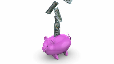 Money falling into a Piggy Bank Animation