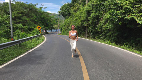 Running Woman Jogging During Outdoor Workout Footage