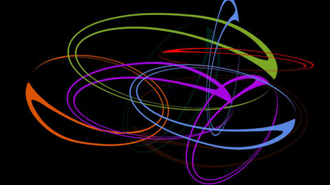 Rotating colorful ellipse group on black background. Psychedelic movie in rainbo Animation