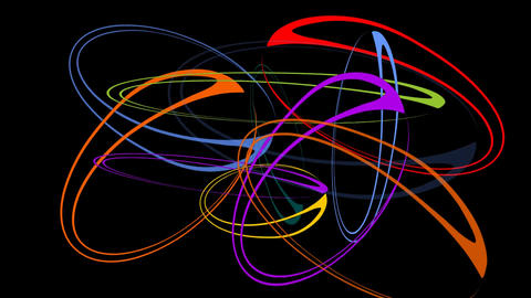 Rotating colorful ellipse group on black background.… Stock Video Footage