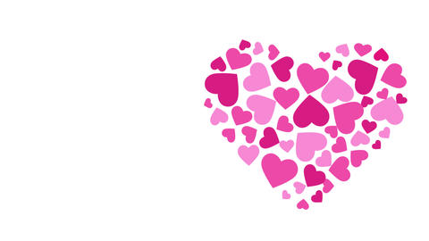 Hearts formed by Hearts Animation. Motion graphic HD Animation