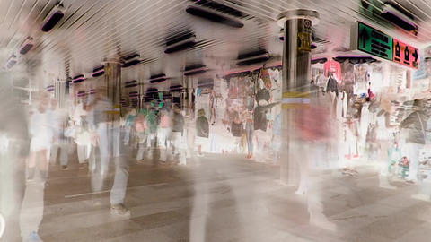 City passage with motion blur with inversion filter GIF