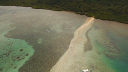 Beautiful tropical beach, aerial view. Tropical island Footage