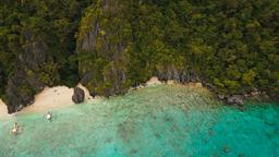 Tropical beach, aerial view. Tropical island Footage