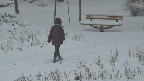 Woman Walking Snowing Park Footage