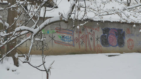 Snowing Graffiti Wall Footage