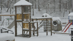 Snowing Park Playground Footage