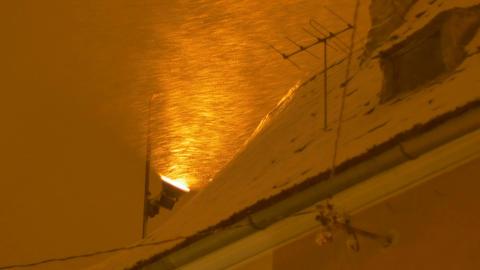 Night Snowing Light Projector Footage