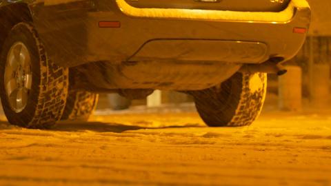 Night Snowing Car Back Footage
