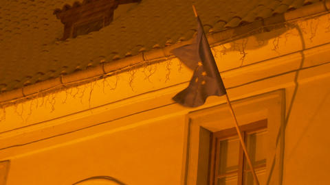 European Union Snowy Flag Footage