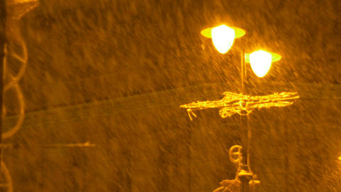 Lamp Post Heavy Snowing Footage