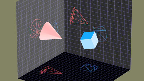 Descriptive geometry 3D projection seamless loop with inversion filter 애니메이션