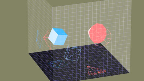 Descriptive geometry 3D projection seamless loop with inversion filter Image