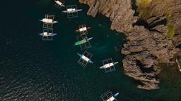 Beautiful tropical lagoon, aerial view. Tropical island Footage