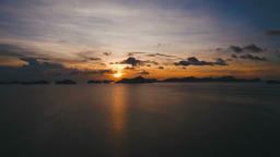 Beautiful sunset over sea, aerial view Footage