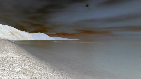 Evening on sea beach timelapse with inversion filter Footage