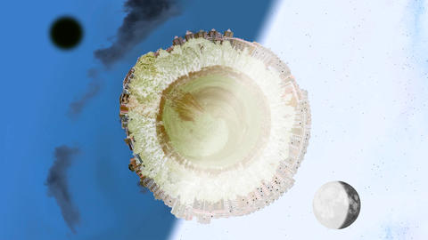Tiny planet world panorama in day and night with inversion filter