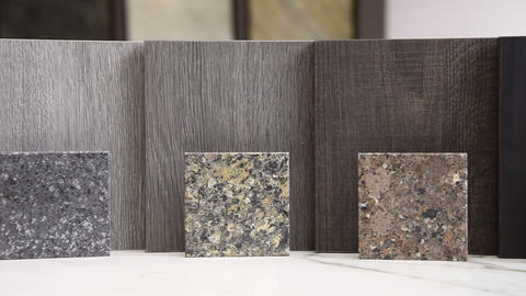 Kitchen countertops and kitchen door color samples Footage